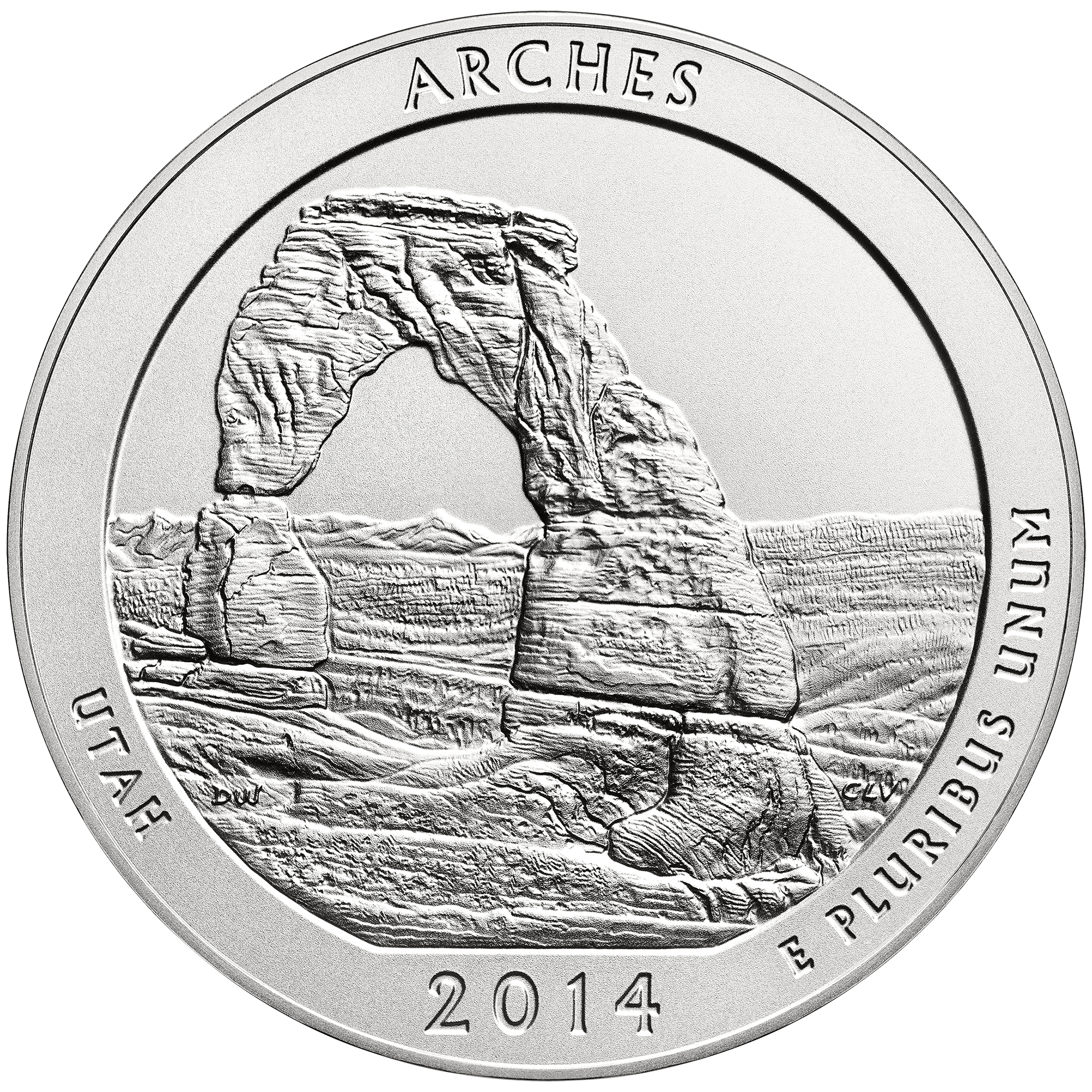 2014 America The Beautiful Quarters Five Ounce Silver Uncirculated Coin Arches Utah Reverse