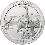 2014 America The Beautiful Quarters Five Ounce Silver Uncirculated Coin Everglades Florida Reverse