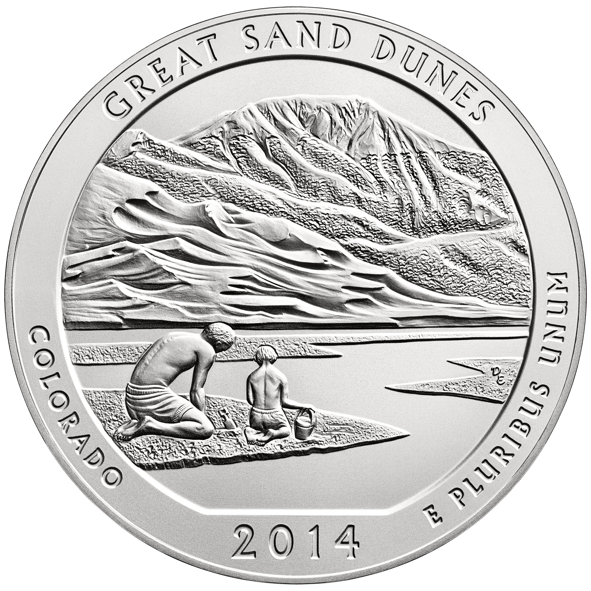 2014 America The Beautiful Quarters Five Ounce Silver Uncirculated Coin Great Sand Dunes Colorado Reverse
