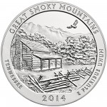 2014 America The Beautiful Quarters Five Ounce Silver Uncirculated Coin Great Smoky Mountains Tennessee Reverse