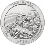 2014 America The Beautiful Quarters Five Ounce Silver Uncirculated Coin Shenandoah Virginia Reverse
