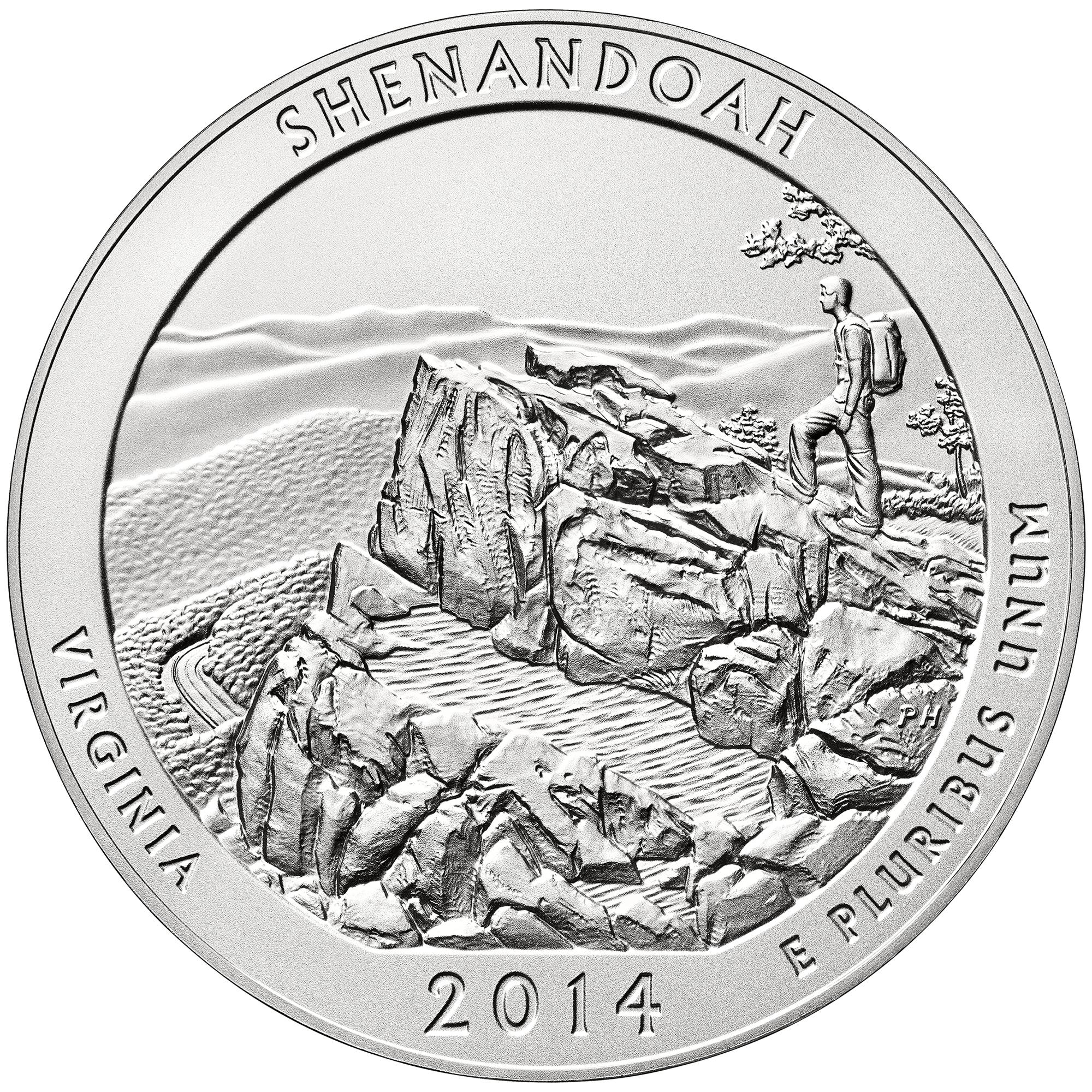 2014 America The Beautiful Quarters Five Ounce Silver Uncirculated Coin Shenandoah Virginia Reverse