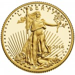 2014 American Eagle Gold Quarter Ounce Proof Coin Obverse