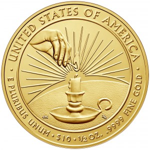 2014 First Spouse Gold Coin Eleanor Roosevelt Uncirculated Reverse