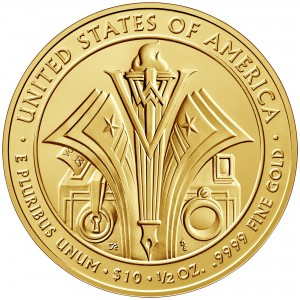 2014 First Spouse Gold Coin Florence Harding Uncirculated Reverse
