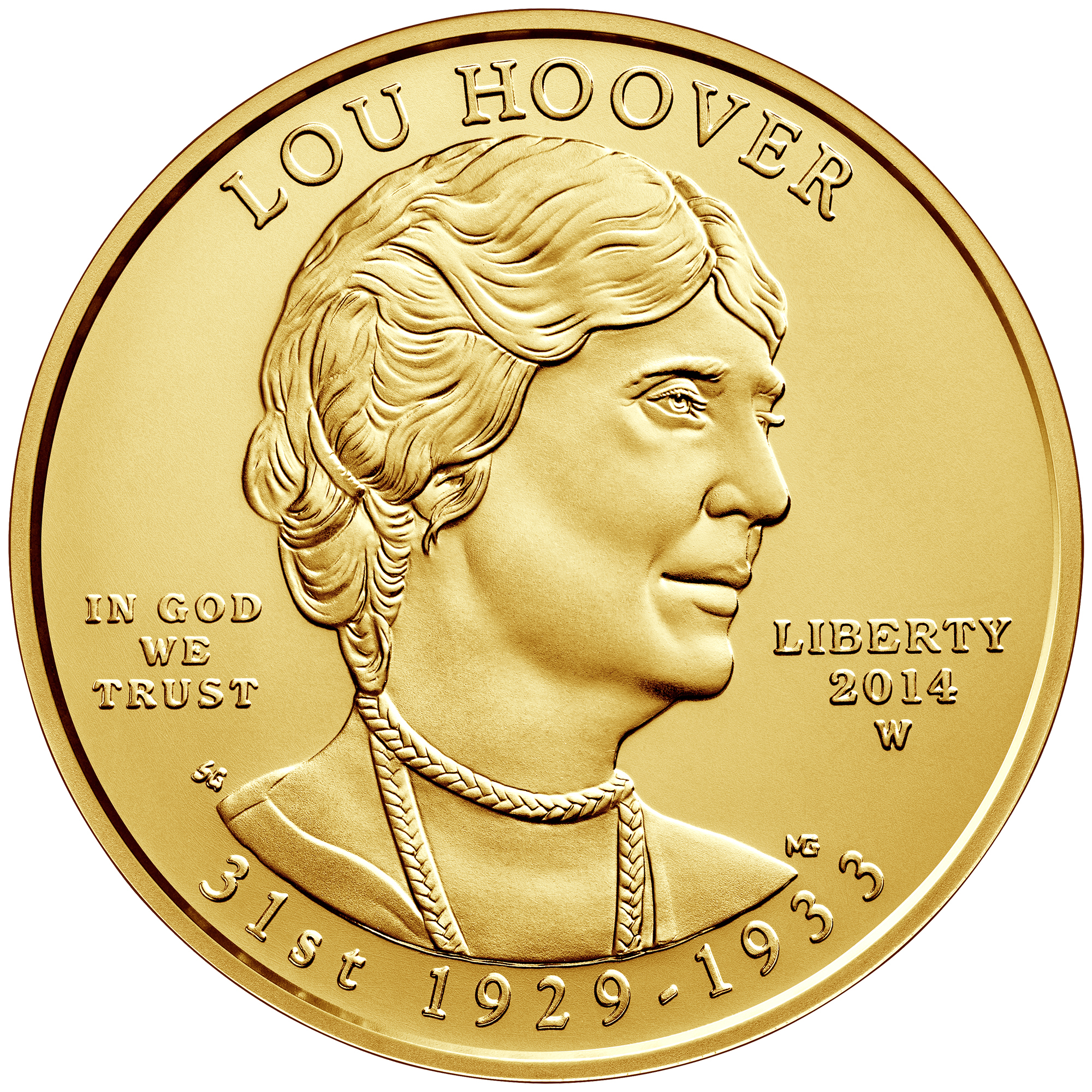 2014 First Spouse Gold Coin Lou Hoover Uncirculated Obverse