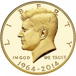 2014 Kennedy Half Dollar Fiftieth Anniversary Gold Proof Coin West Point Obverse