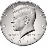 2014 Kennedy Half Dollar Fiftieth Anniversary Silver Enhanced Uncirculated Coin San Francisco Obverse