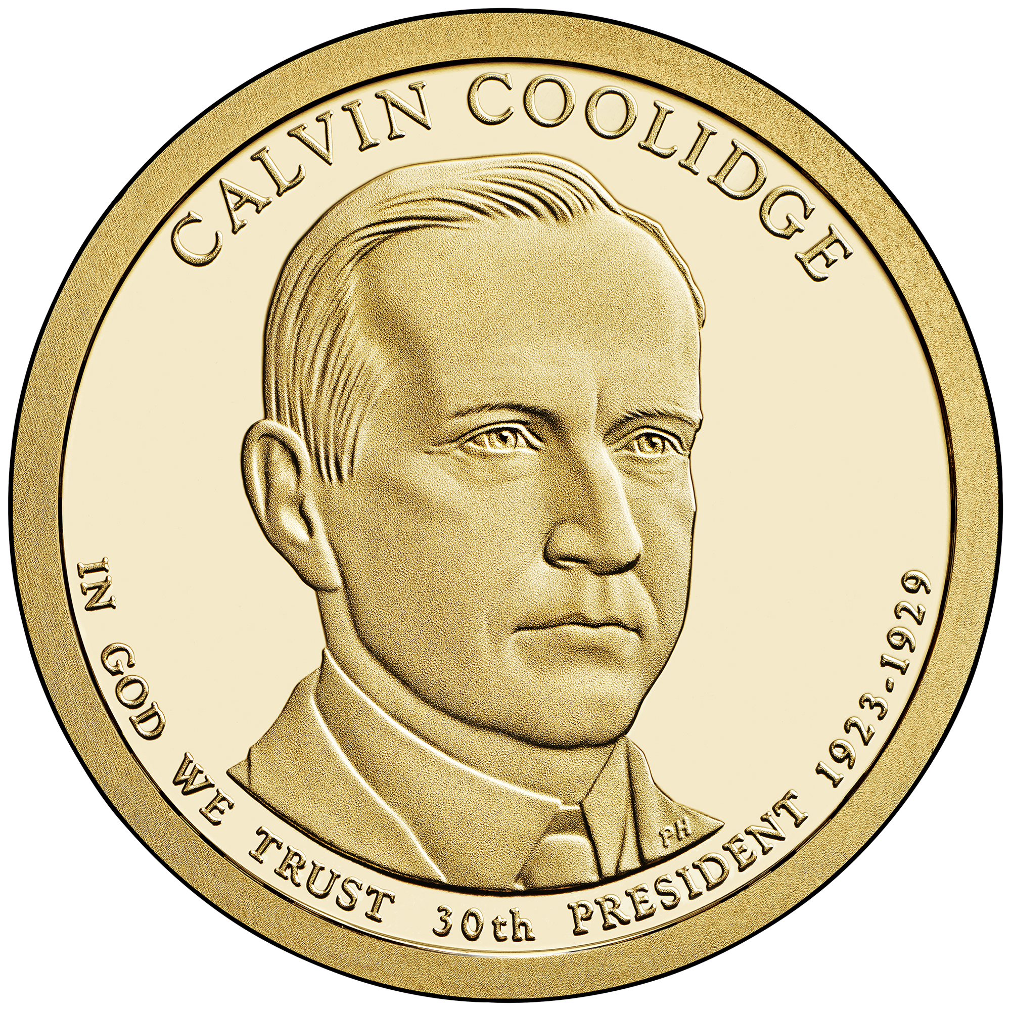 2014 Presidential Dollar Coin Calvin Coolidge Proof Obverse