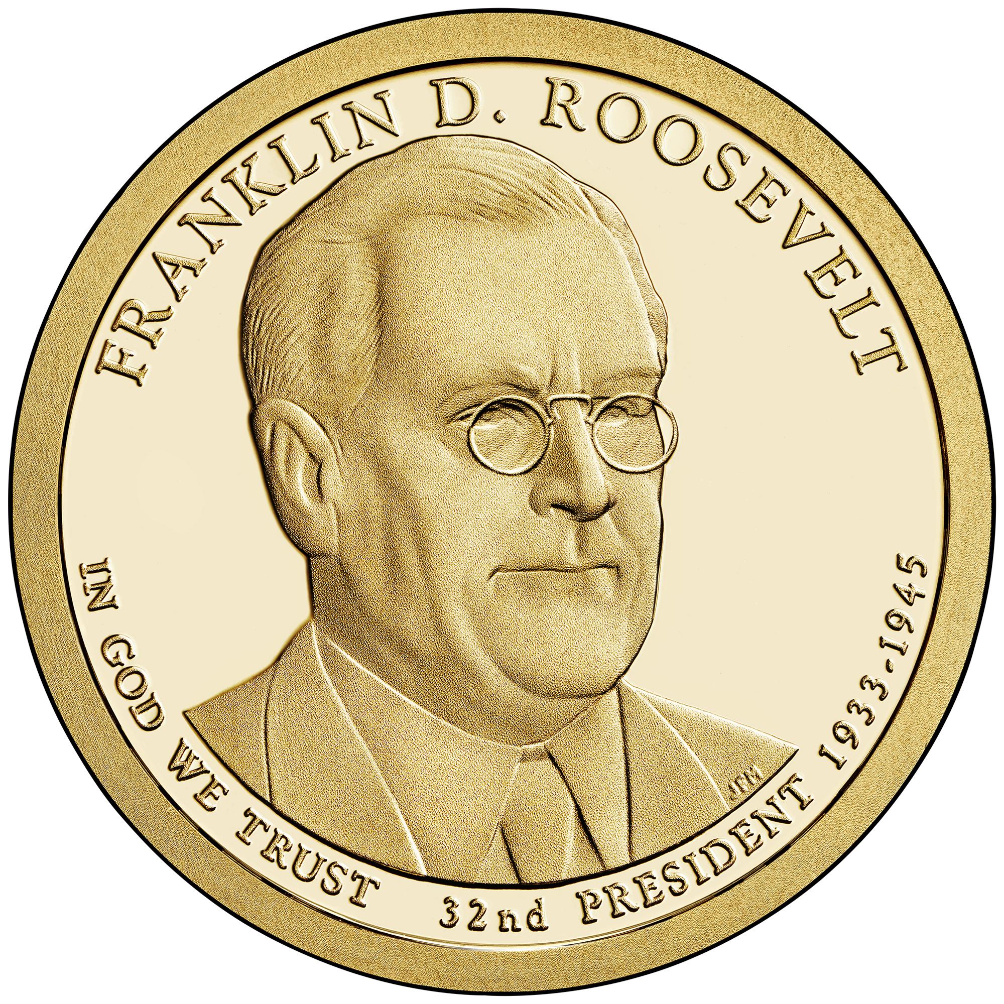 2014 Presidential Dollar Coin Franklin D. Roosevelt Proof Obverse