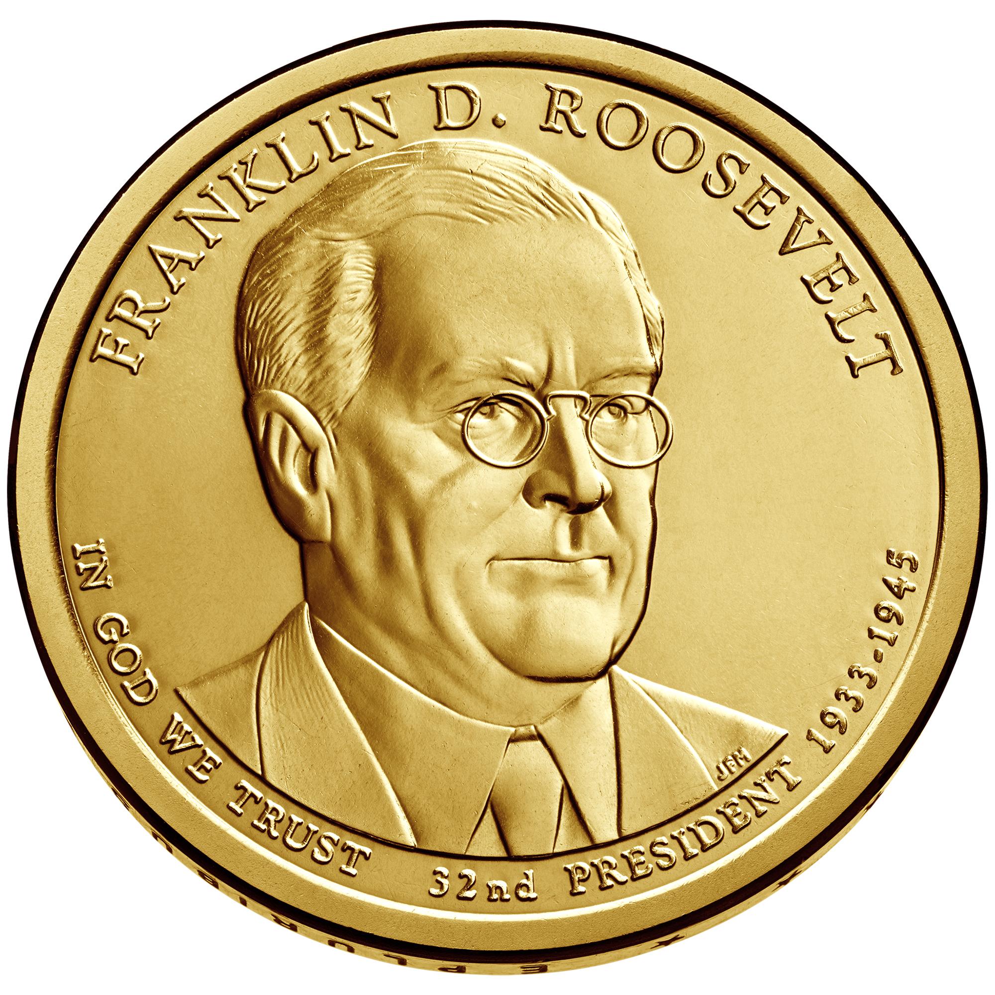 2014 Presidential Dollar Coin Franklin D. Roosevelt Uncirculated Obverse