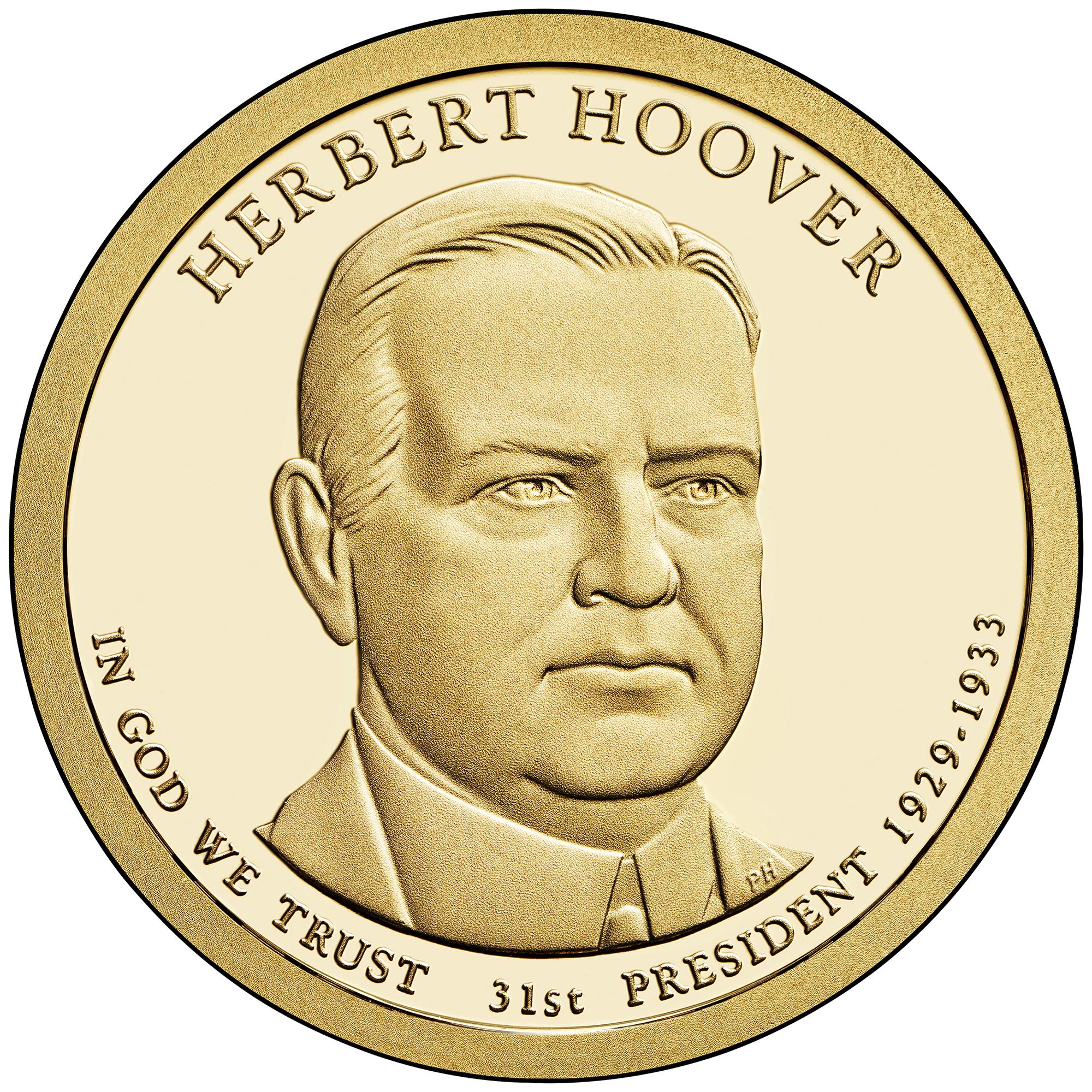 2014 Presidential Dollar Coin Herbert Hoover Proof Obverse