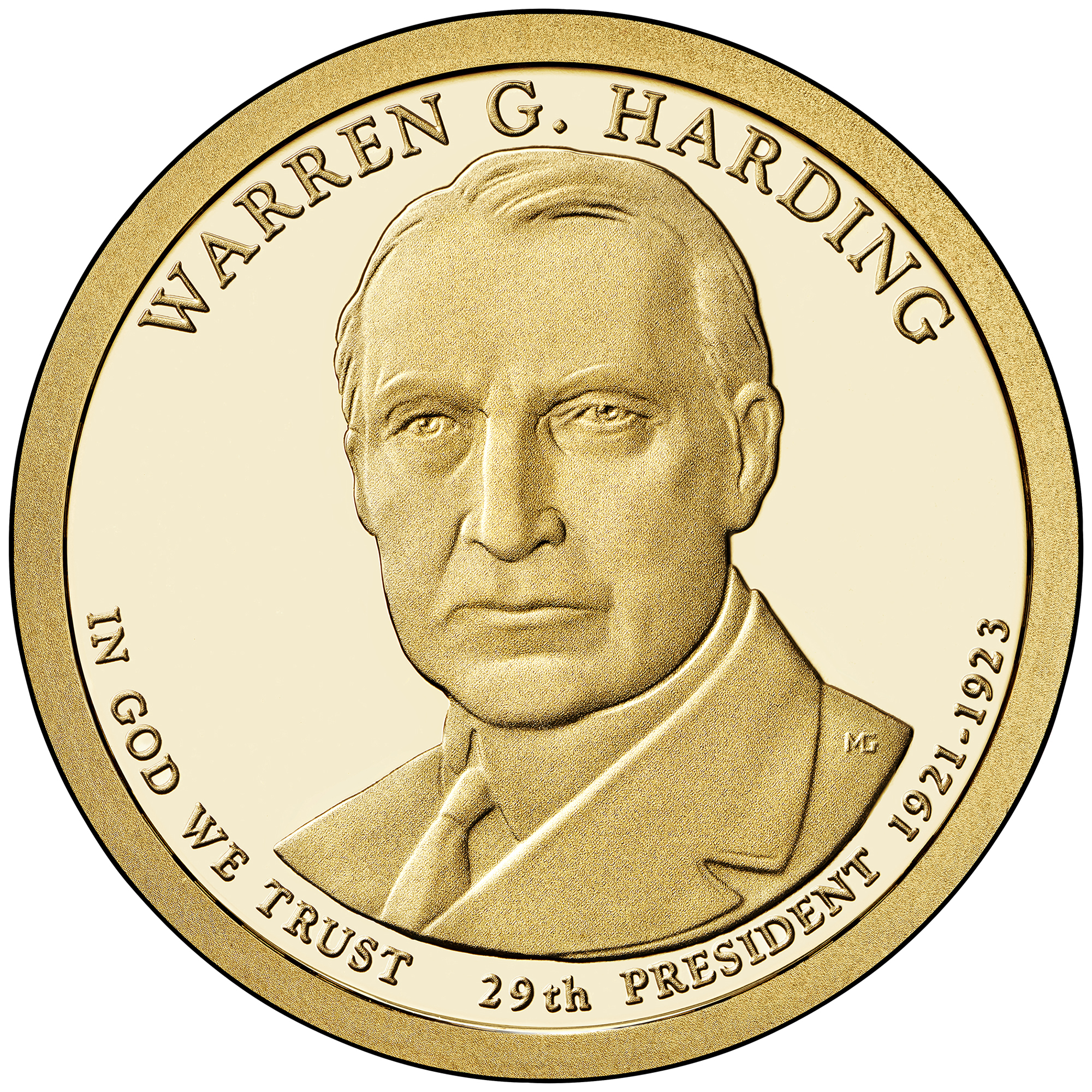 2014 Presidential Dollar Coin Warren G. Harding Proof Obverse