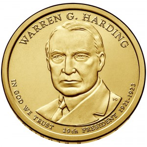 2014 Presidential Dollar Coin Warren G. Harding Uncirculated Obverse