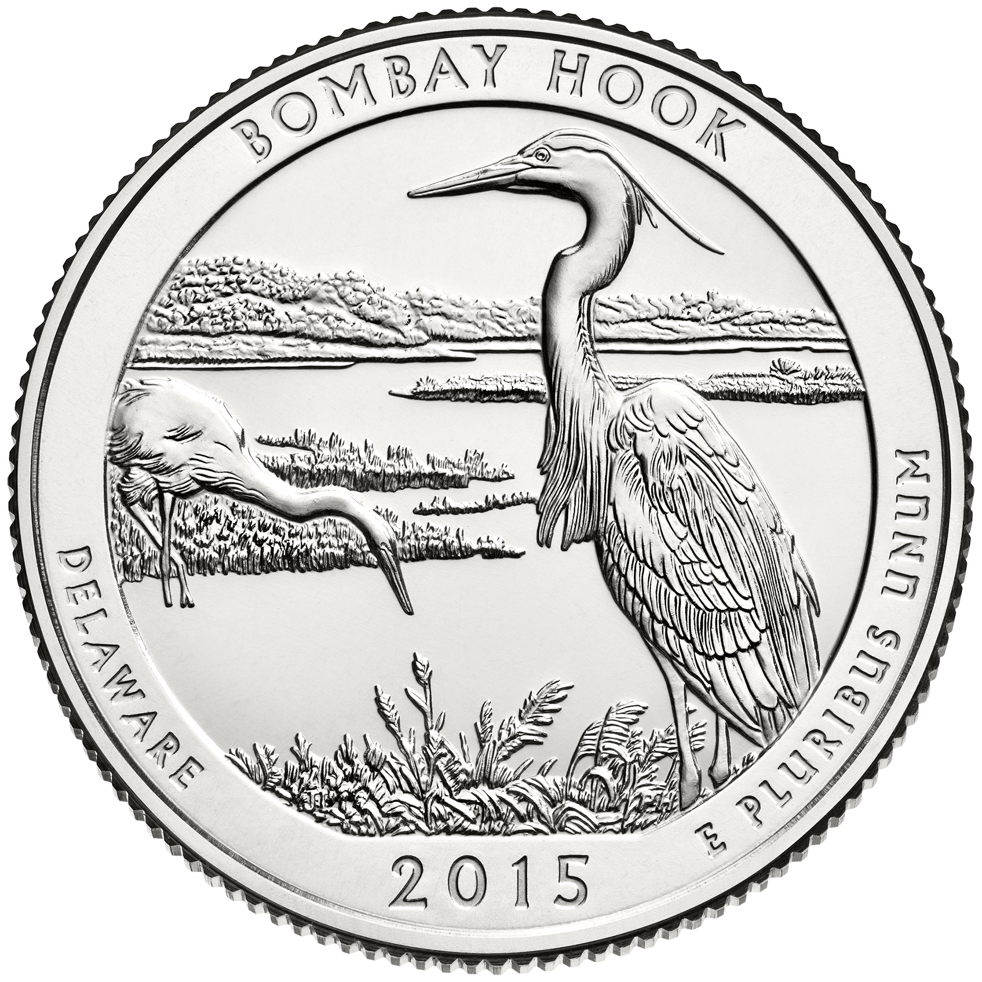 2015 America The Beautiful Quarters Coin Bombay Hook Delaware Uncirculated Reverse