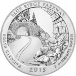 2015 America The Beautiful Quarters Five Ounce Silver Bullion Coin Blue Ridge Parkway North Carolina Reverse