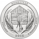 2015 America The Beautiful Quarters Five Ounce Silver Bullion Coin Homestead Nebraska Reverse