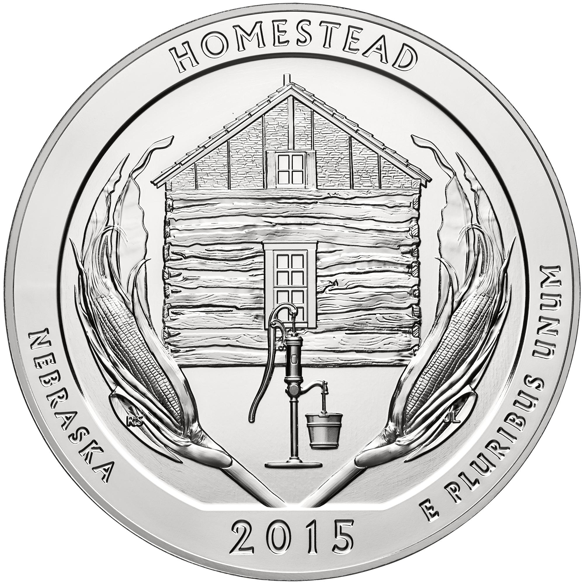 2015 America The Beautiful Quarters Five Ounce Silver Bullion Coin Homestead Nebraska Reverse