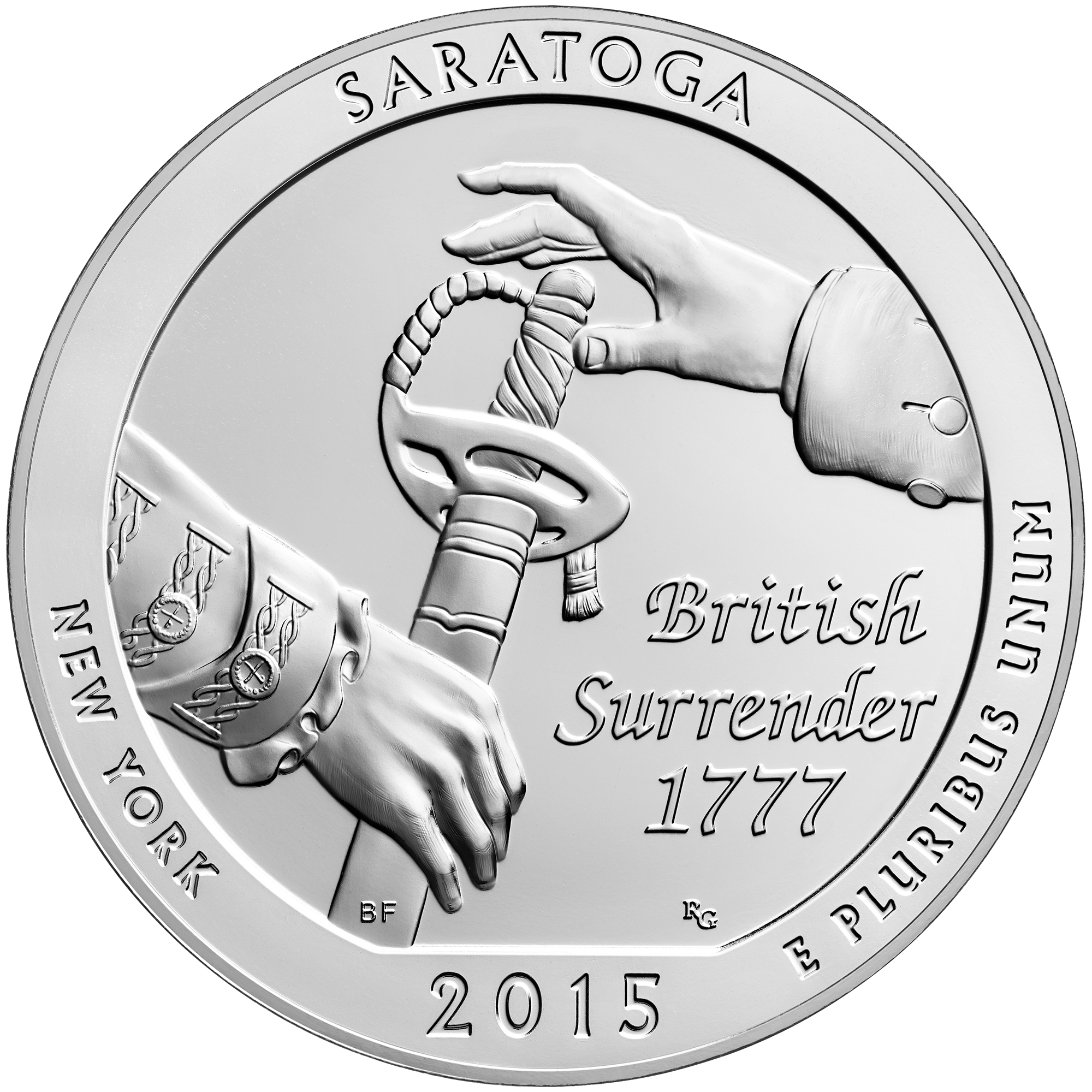 2015 America The Beautiful Quarters Five Ounce Silver Bullion Coin Saratoga New York Reverse