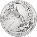 2015 America The Beautiful Quarters Five Ounce Silver Uncirculated Coin Blue Ridge Parkway North Carolina Reverse