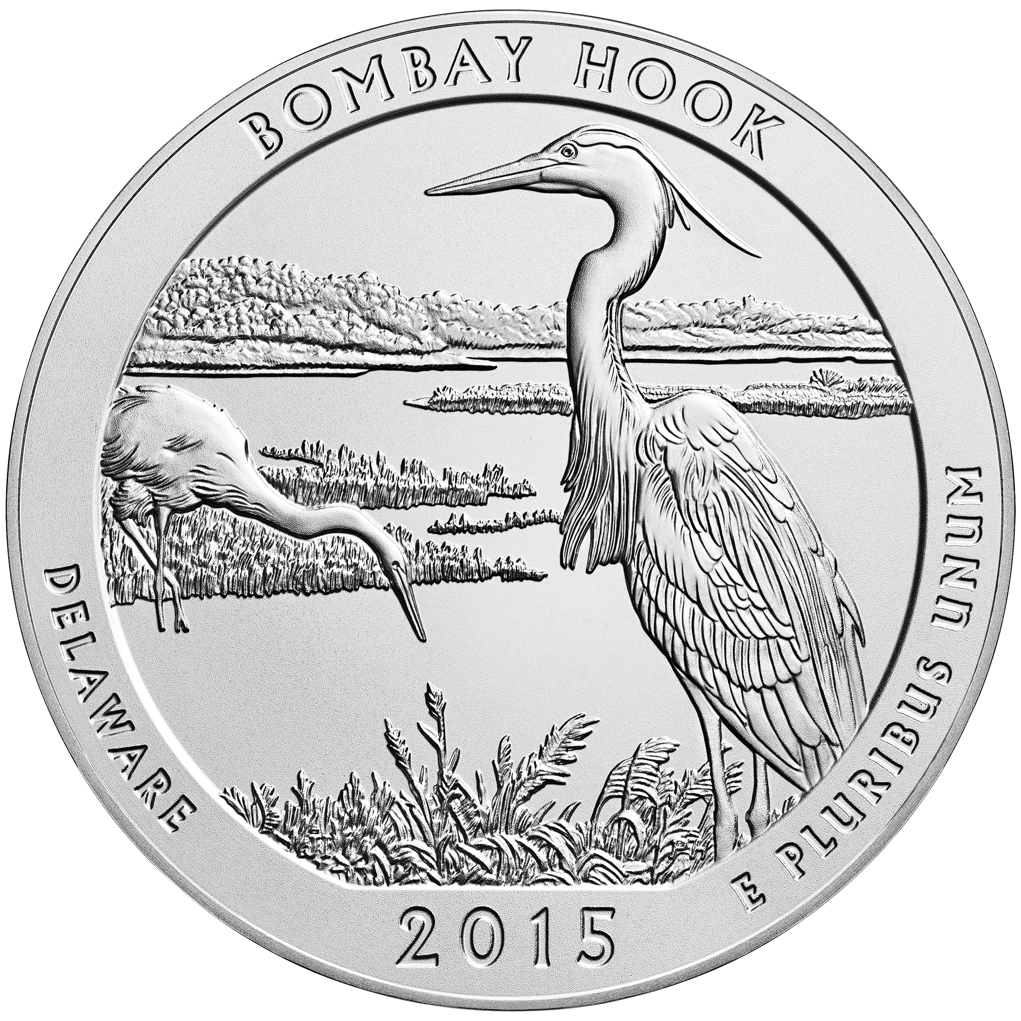 2015 America The Beautiful Quarters Five Ounce Silver Uncirculated Coin Bombay Hook Delaware Reverse