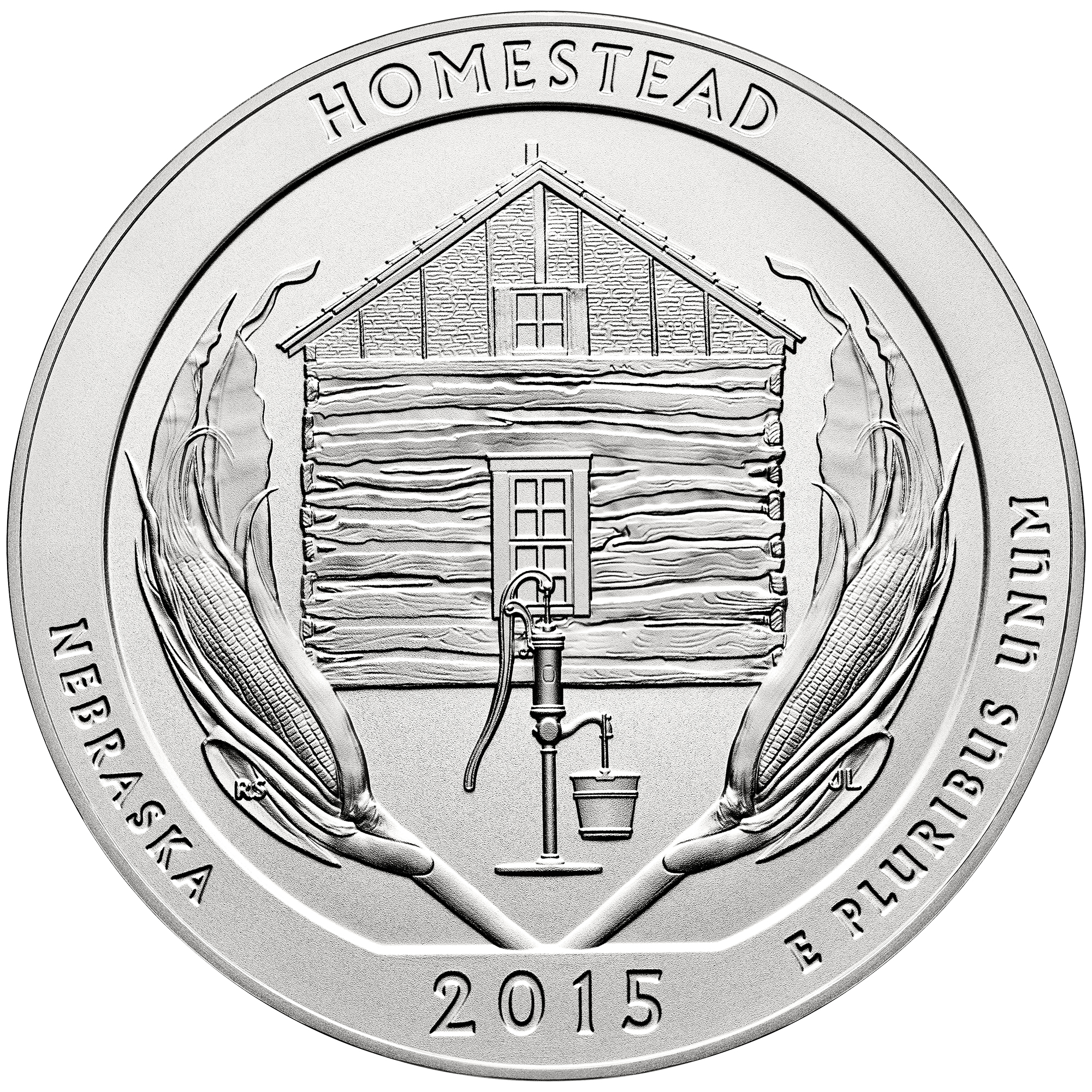 2015 America The Beautiful Quarters Five Ounce Silver Uncirculated Coin Homestead Nebraska Reverse