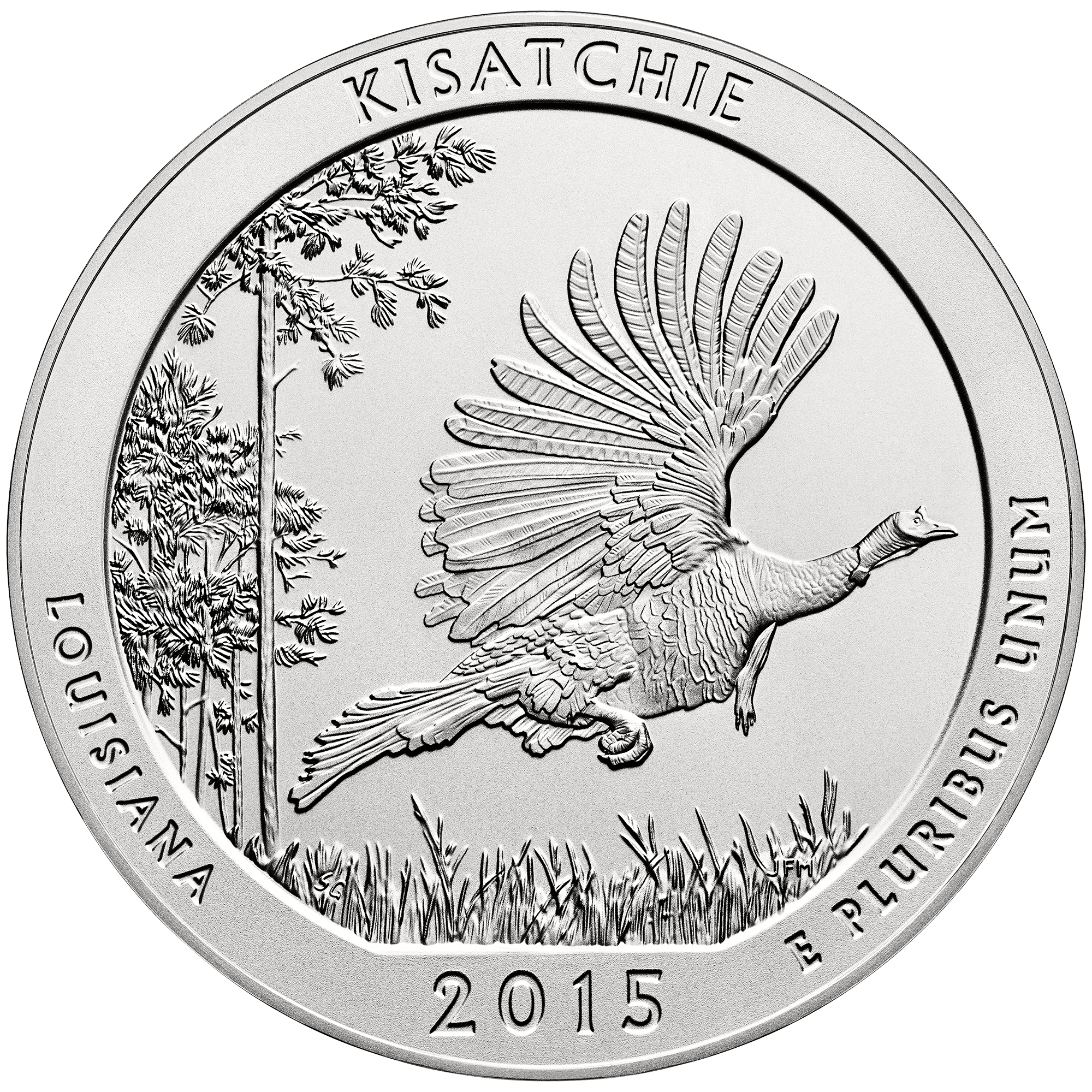 2015 America The Beautiful Quarters Five Ounce Silver Uncirculated Coin Kisatchie Louisiana Reverse