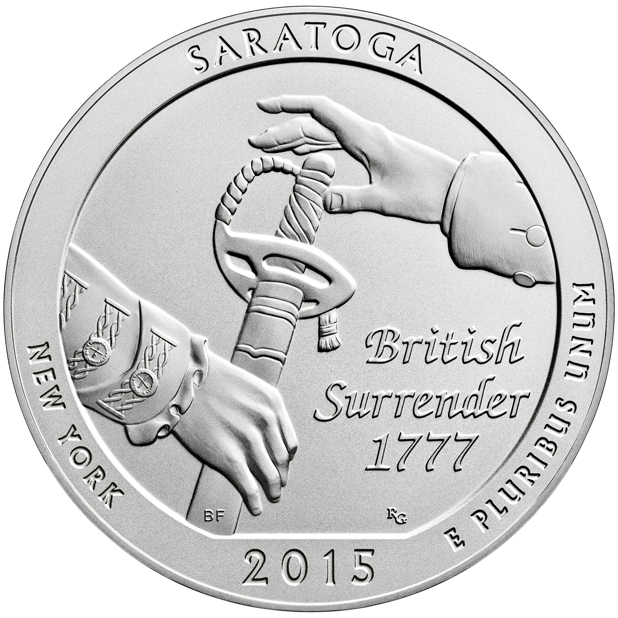 2015 America The Beautiful Quarters Five Ounce Silver Uncirculated Coin Saratoga New York Reverse