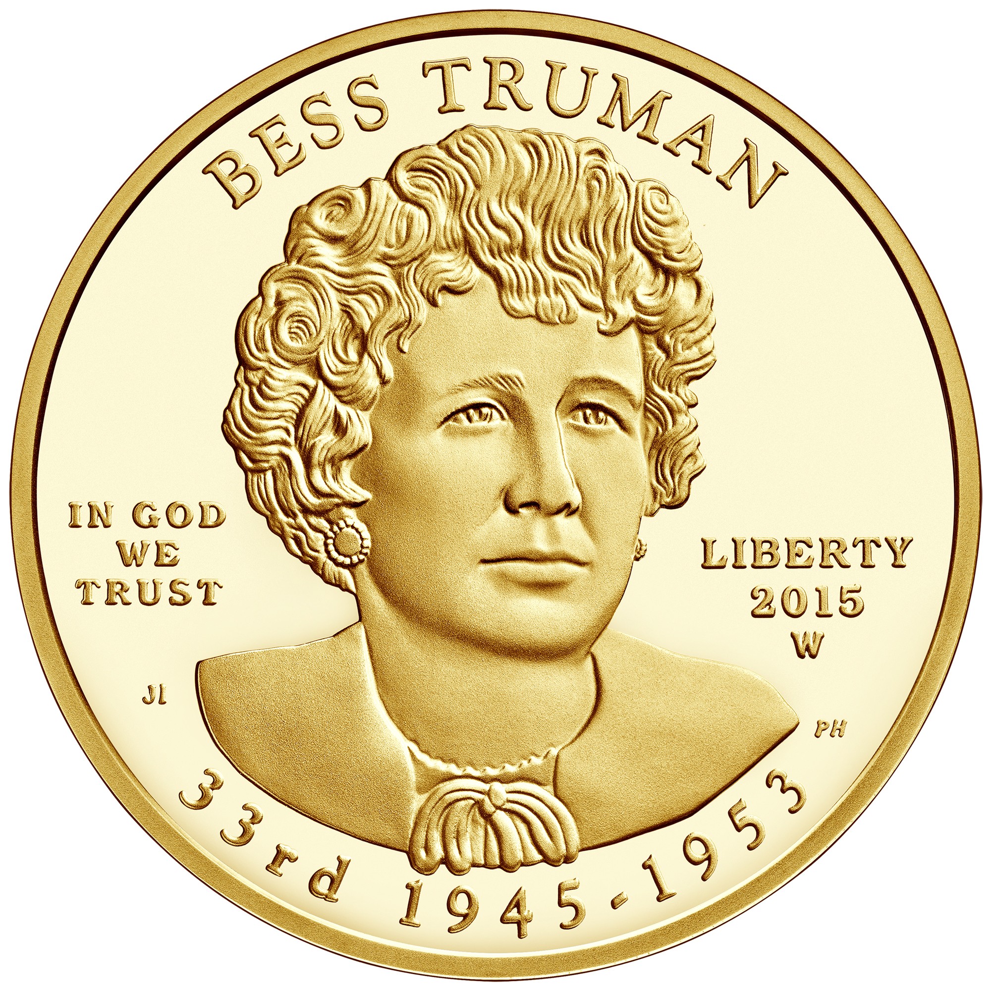 2015 First Spouse Gold Coin Bess Truman Proof Obverse