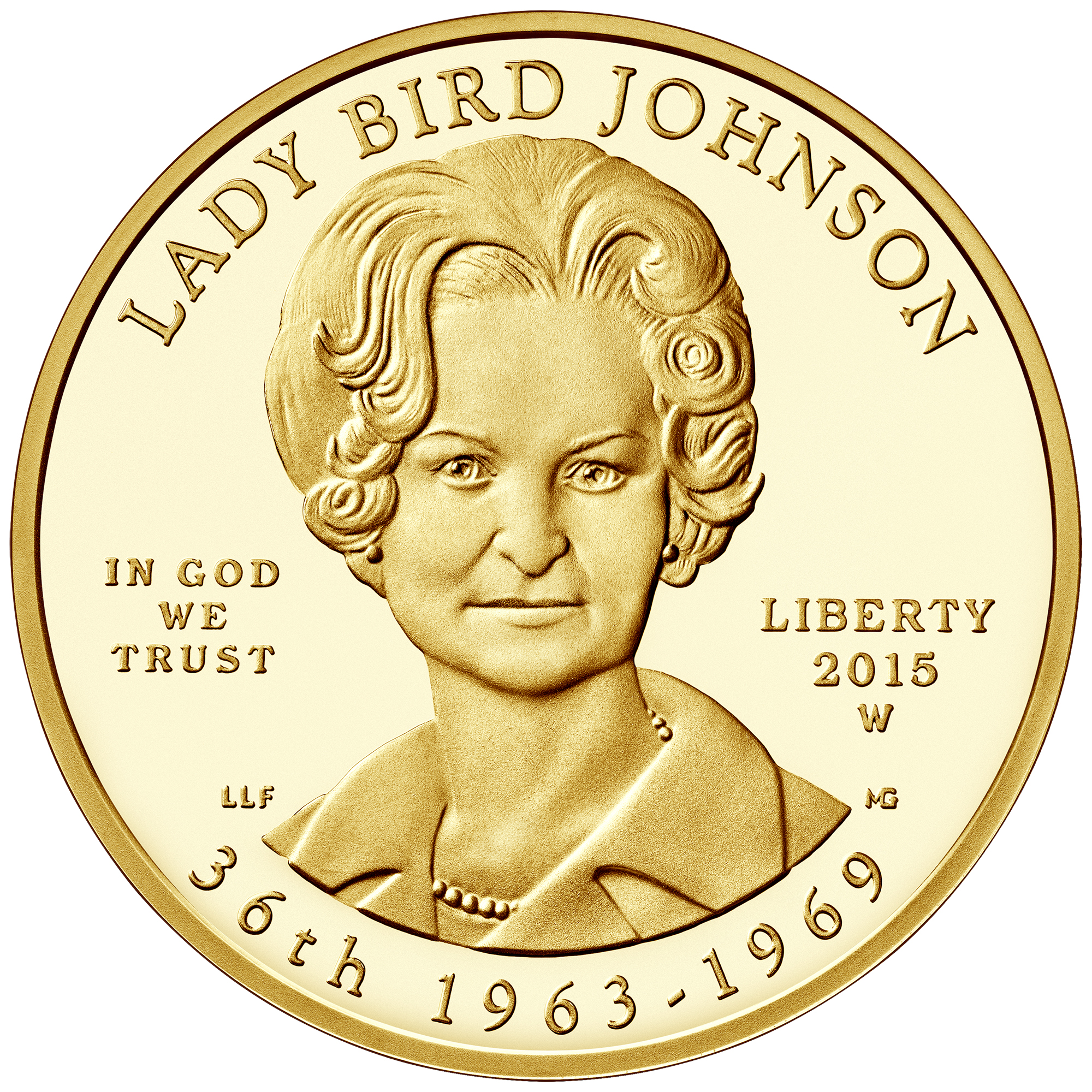 2015 First Spouse Gold Coin Lady Bird Johnson Proof Obverse