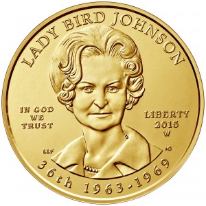 2015 First Spouse Gold Coin Lady Bird Johnson Uncirculated Obverse