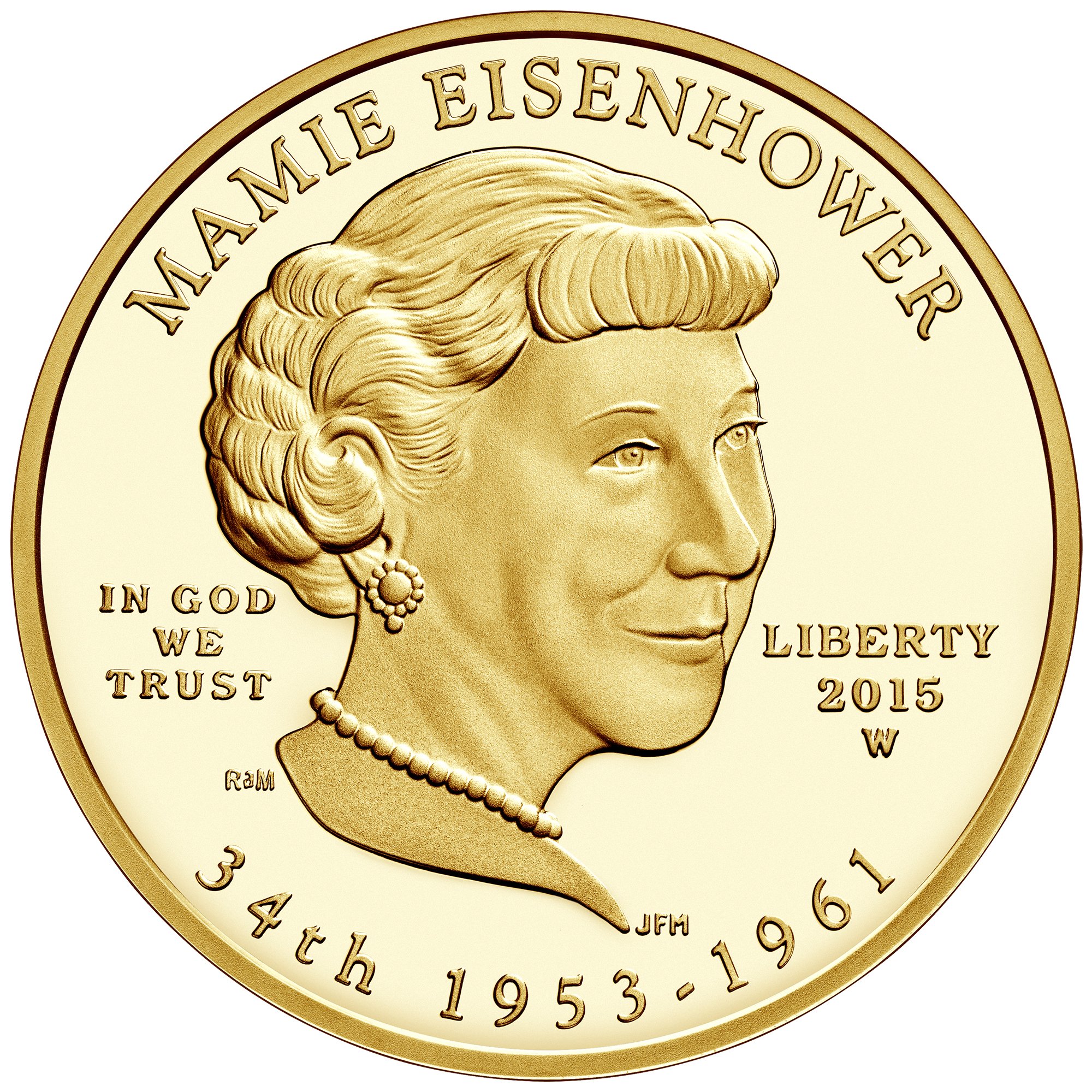 2015 First Spouse Gold Coin Mamie Eisenhower Proof Obverse