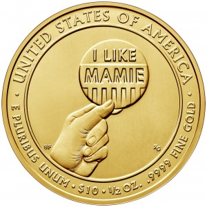 2015 First Spouse Gold Coin Mamie Eisenhower Uncirculated Reverse