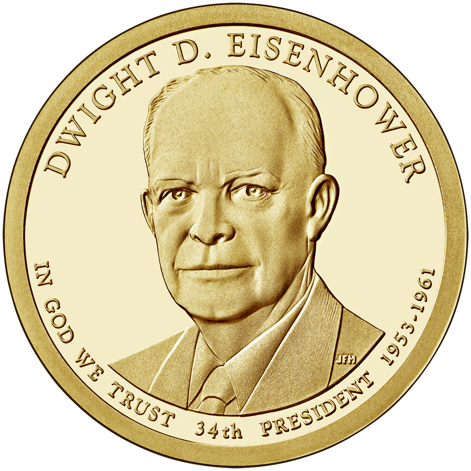 2015 Presidential Dollar Coin Dwight D. Eisenhower Proof Obverse