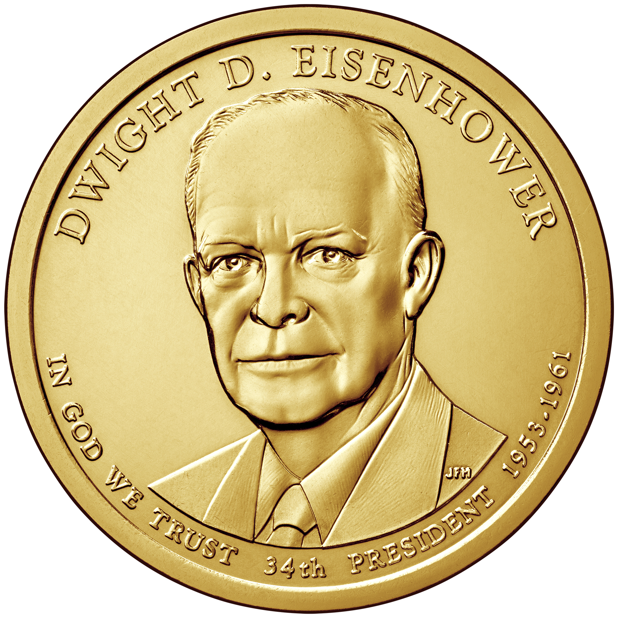 2015 Presidential Dollar Coin Dwight D. Eisenhower Uncirculated Obverse