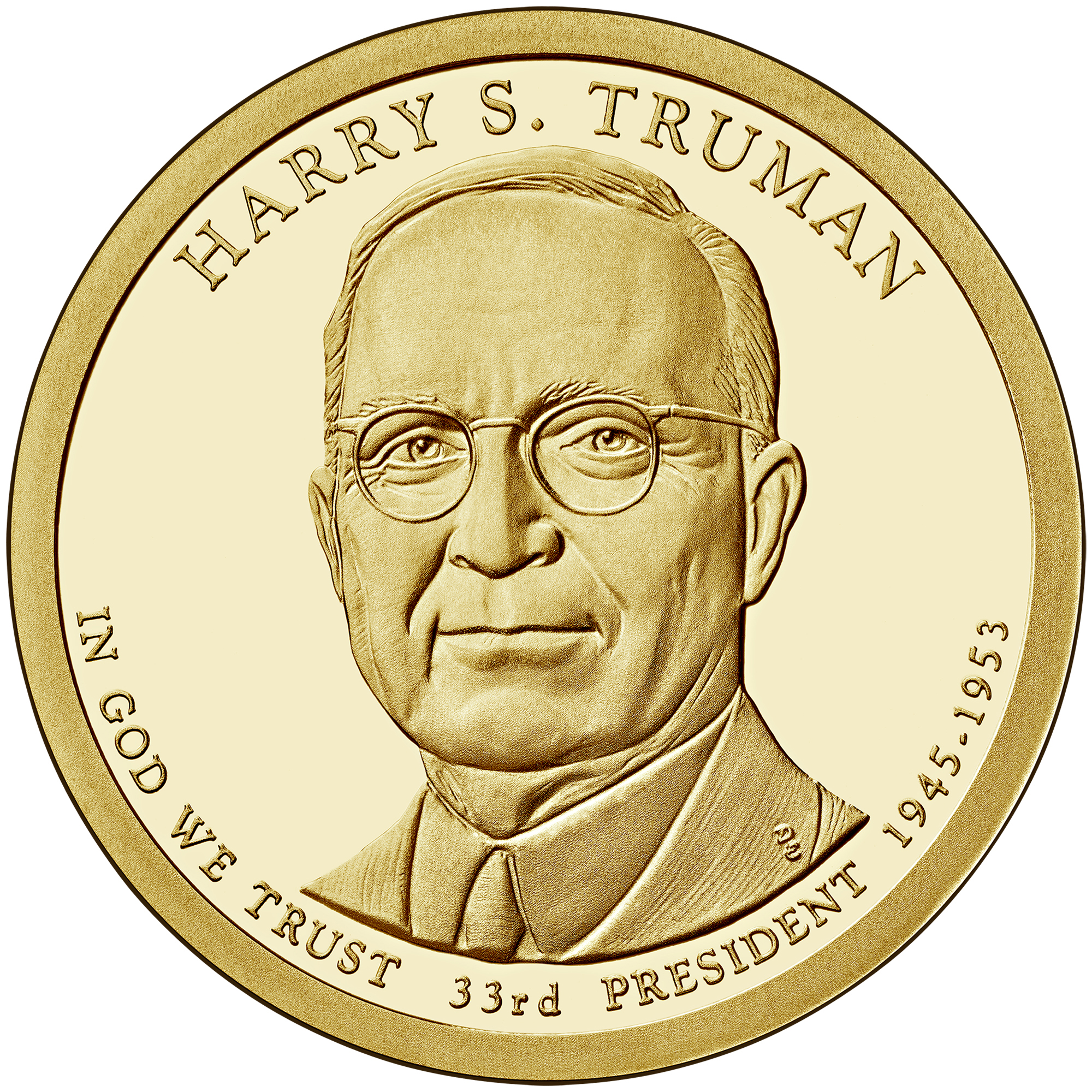 2015 Presidential Dollar Coin Harry S. Truman Proof Obverse