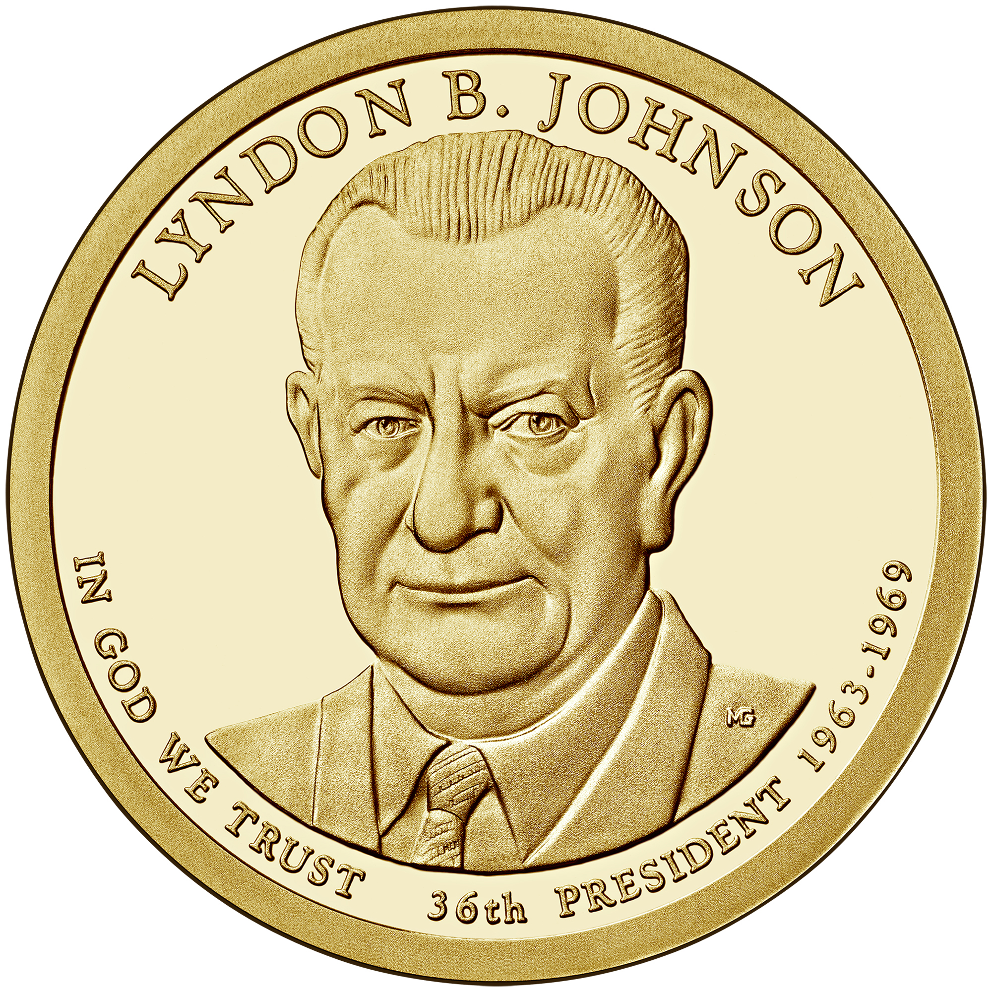2015 Presidential Dollar Coin Lyndon B. Johnson Proof Obverse