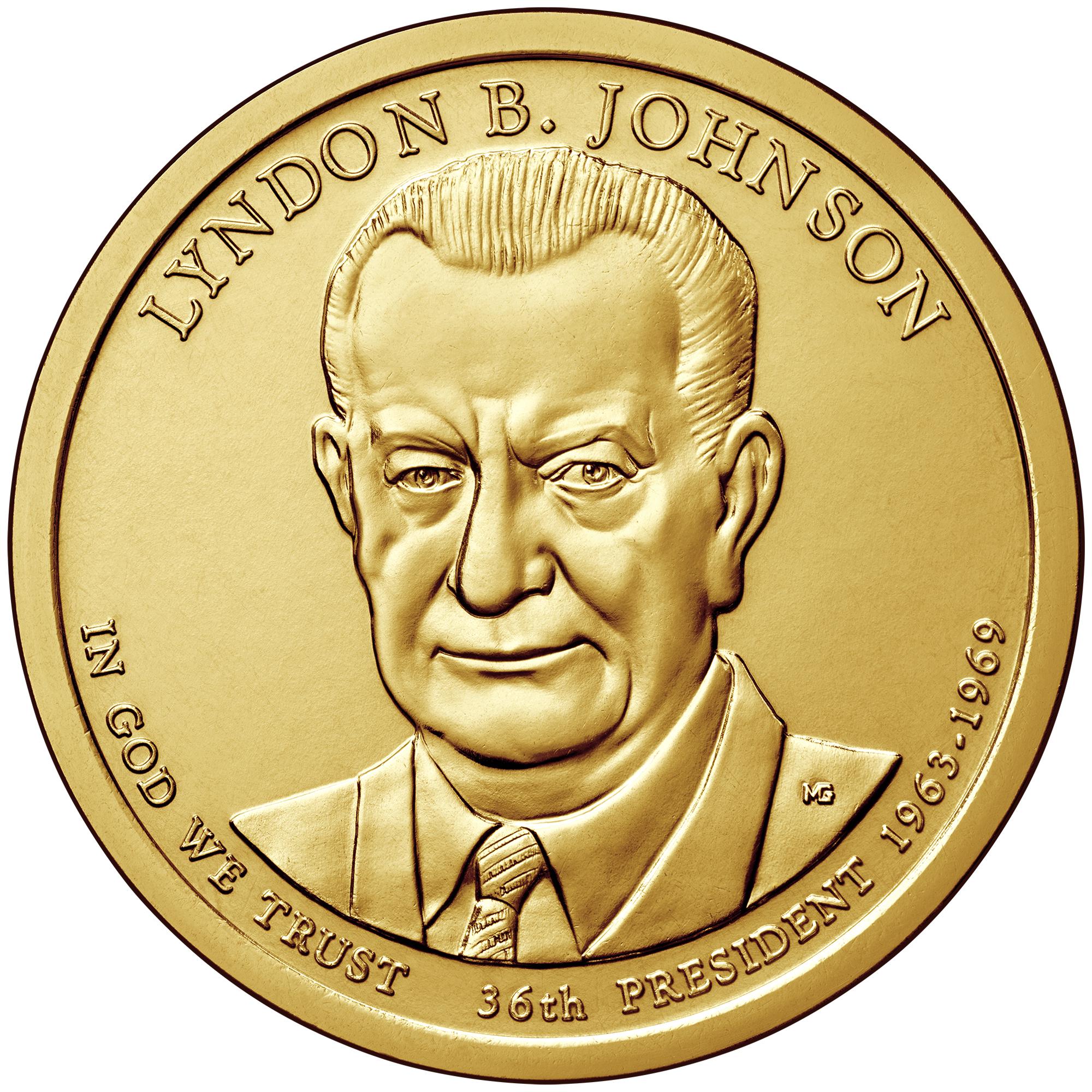 2015 Presidential Dollar Coin Lyndon B. Johnson Uncirculated Obverse