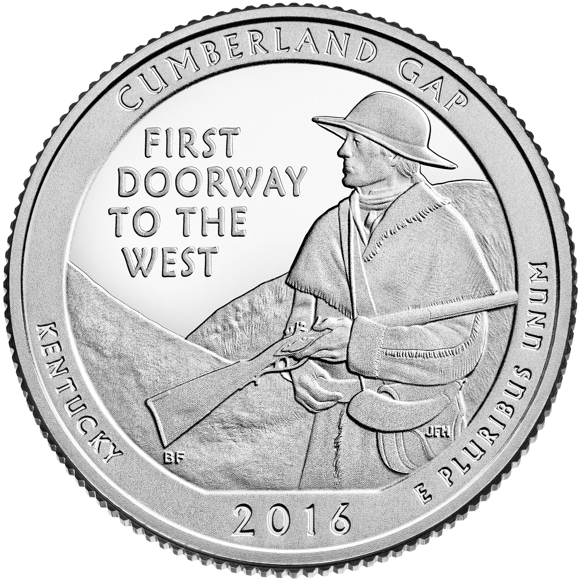 2016 America The Beautiful Quarters Coin Cumberland Gap Kentucky Proof Reverse