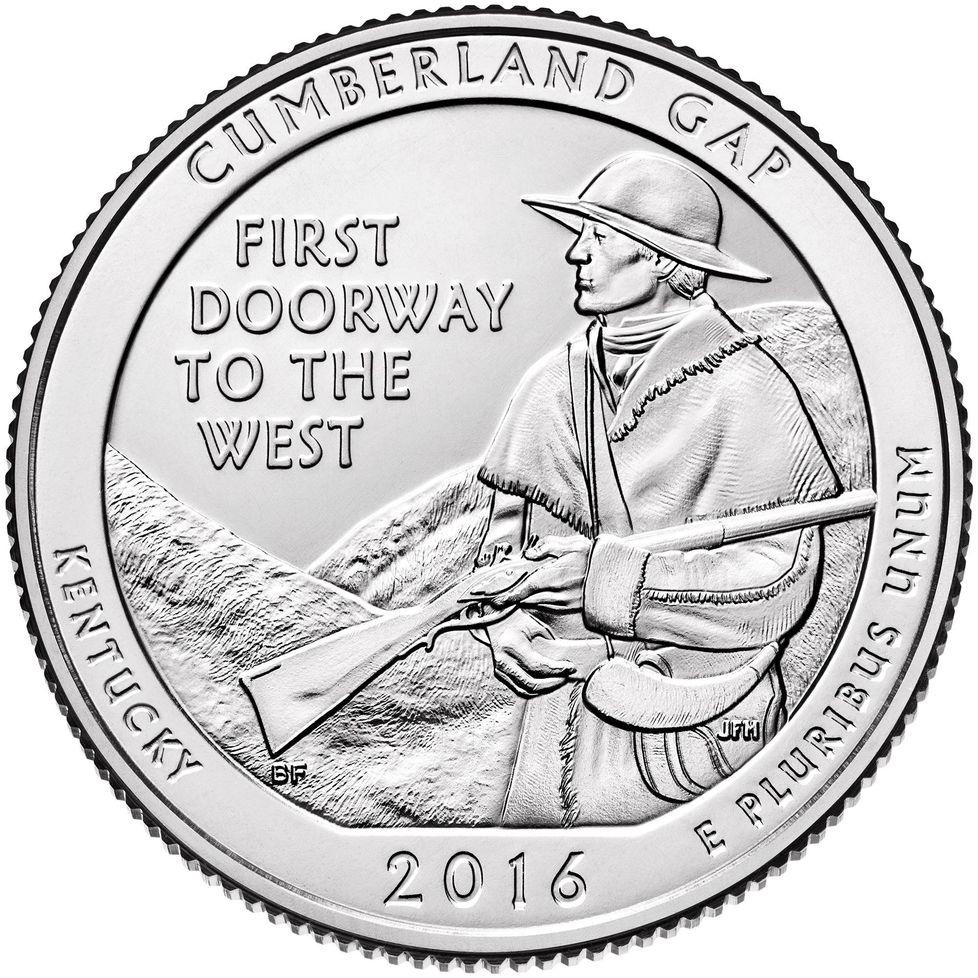 2016 America The Beautiful Quarters Coin Cumberland Gap Kentucky Uncirculated Reverse