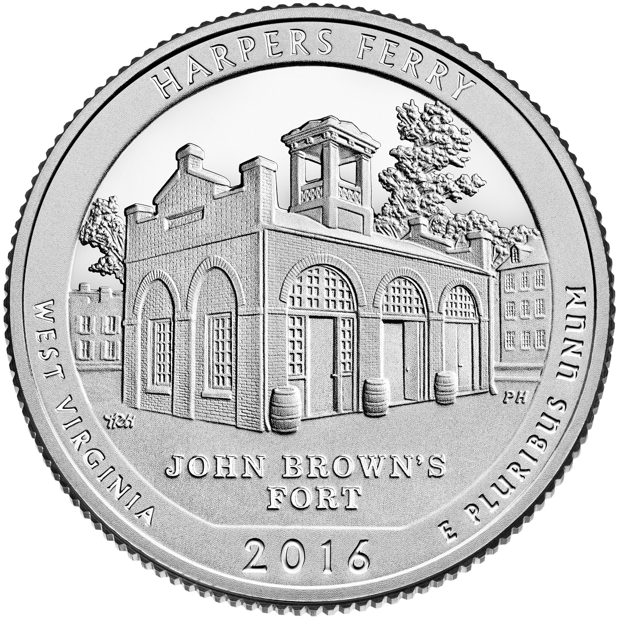 2016 America The Beautiful Quarters Coin Harpers Ferry West Virginia Proof Reverse