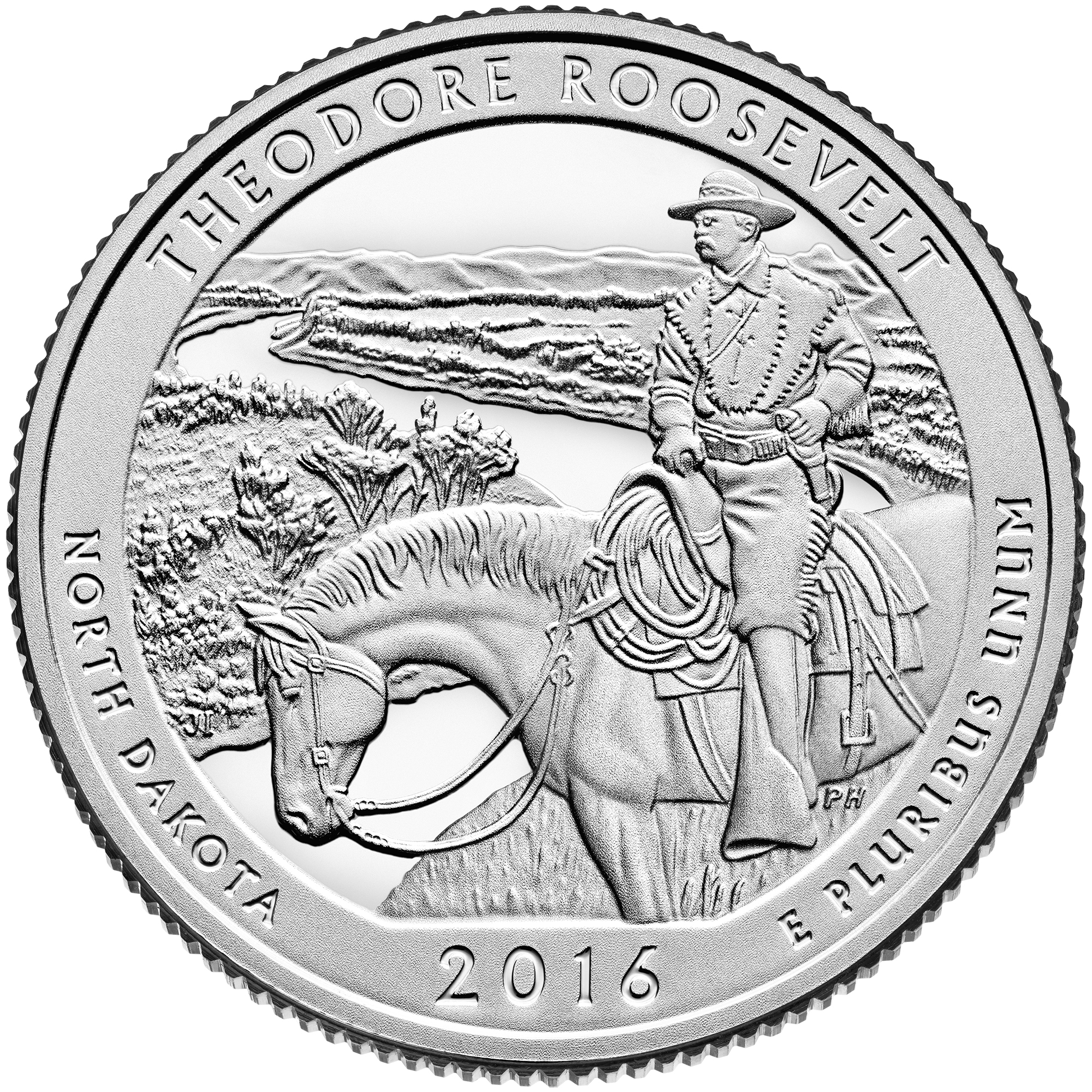 2016 America The Beautiful Quarters Coin Theodore Roosevelt North Dakota Proof Reverse