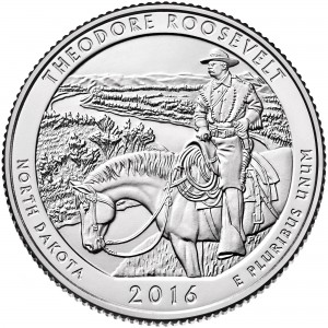 2016 America The Beautiful Quarters Coin Theodore Roosevelt North Dakota Uncirculated Reverse