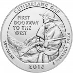 2016 America The Beautiful Quarters Five Ounce Silver Bullion Coin Cumberland Gap Kentucky Reverse