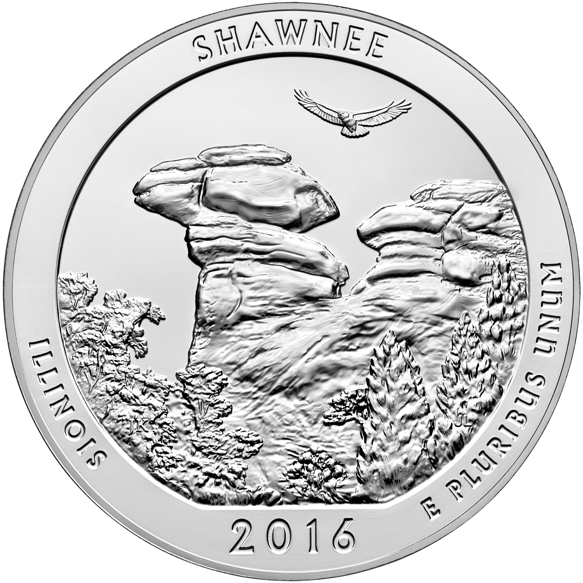 2016 America The Beautiful Quarters Five Ounce Silver Bullion Coin Shawnee Illinois Reverse