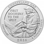 2016 America The Beautiful Quarters Five Ounce Silver Uncirculated Coin Cumberland Gap Kentucky Reverse