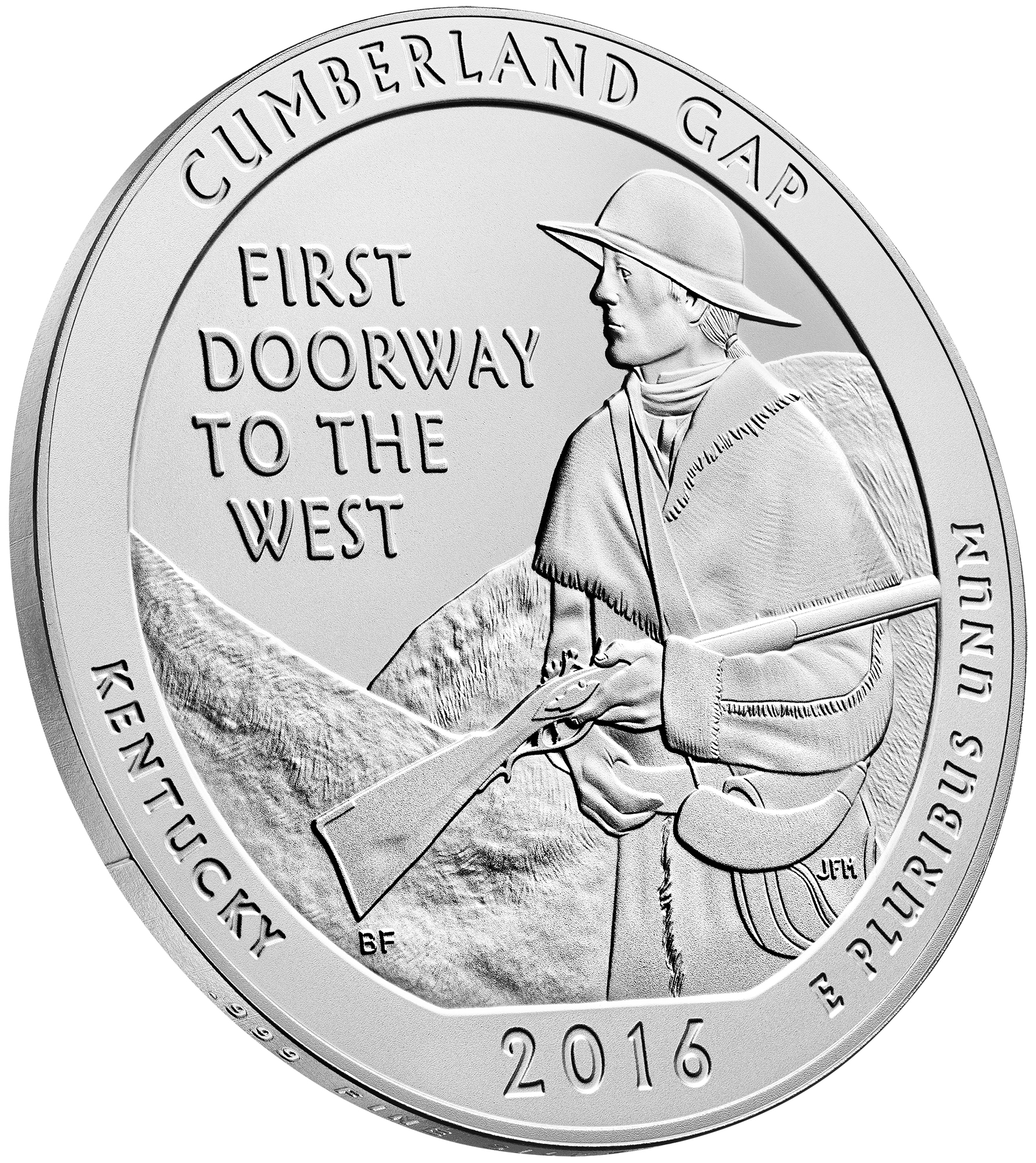 2016 America The Beautiful Quarters Five Ounce Silver Uncirculated Coin Cumberland Gap Kentucky Reverse Angle