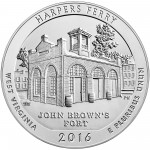 2016 America The Beautiful Quarters Five Ounce Silver Uncirculated Coin Harpers Ferry West Virginia Reverse