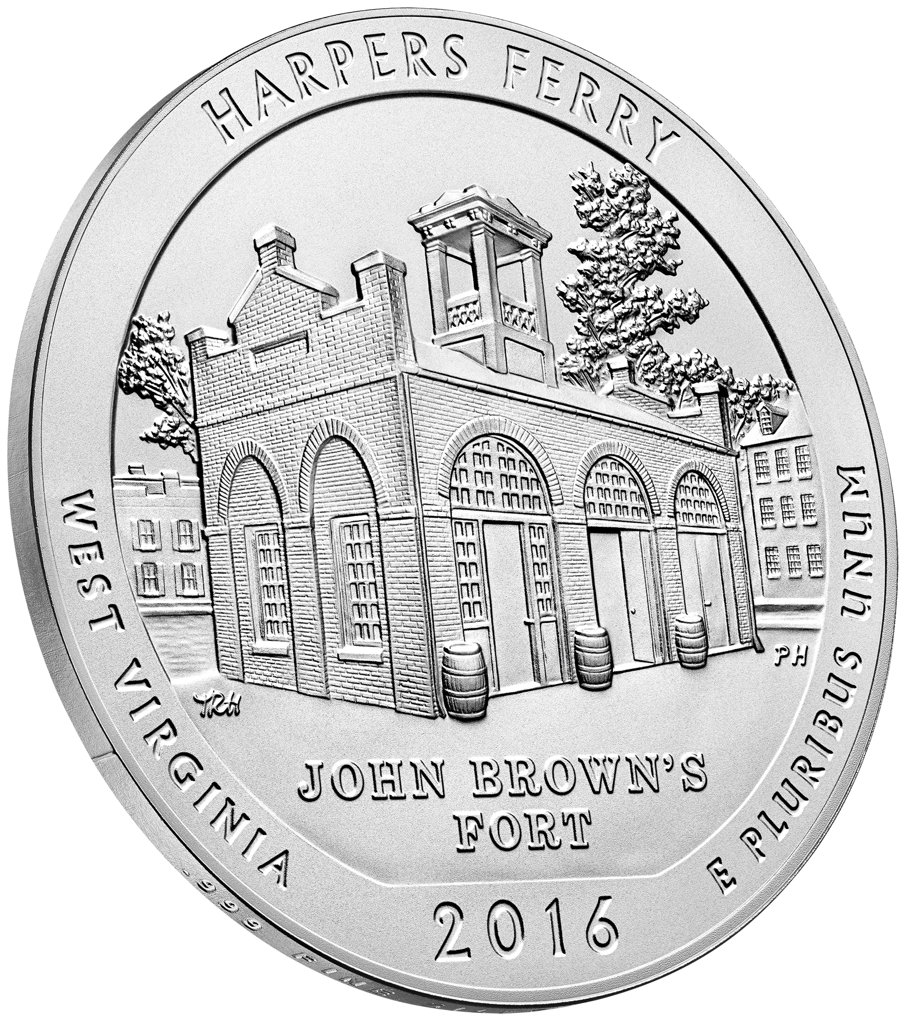 2016 America The Beautiful Quarters Five Ounce Silver Uncirculated Coin Harpers Ferry West Virginia Reverse Angle