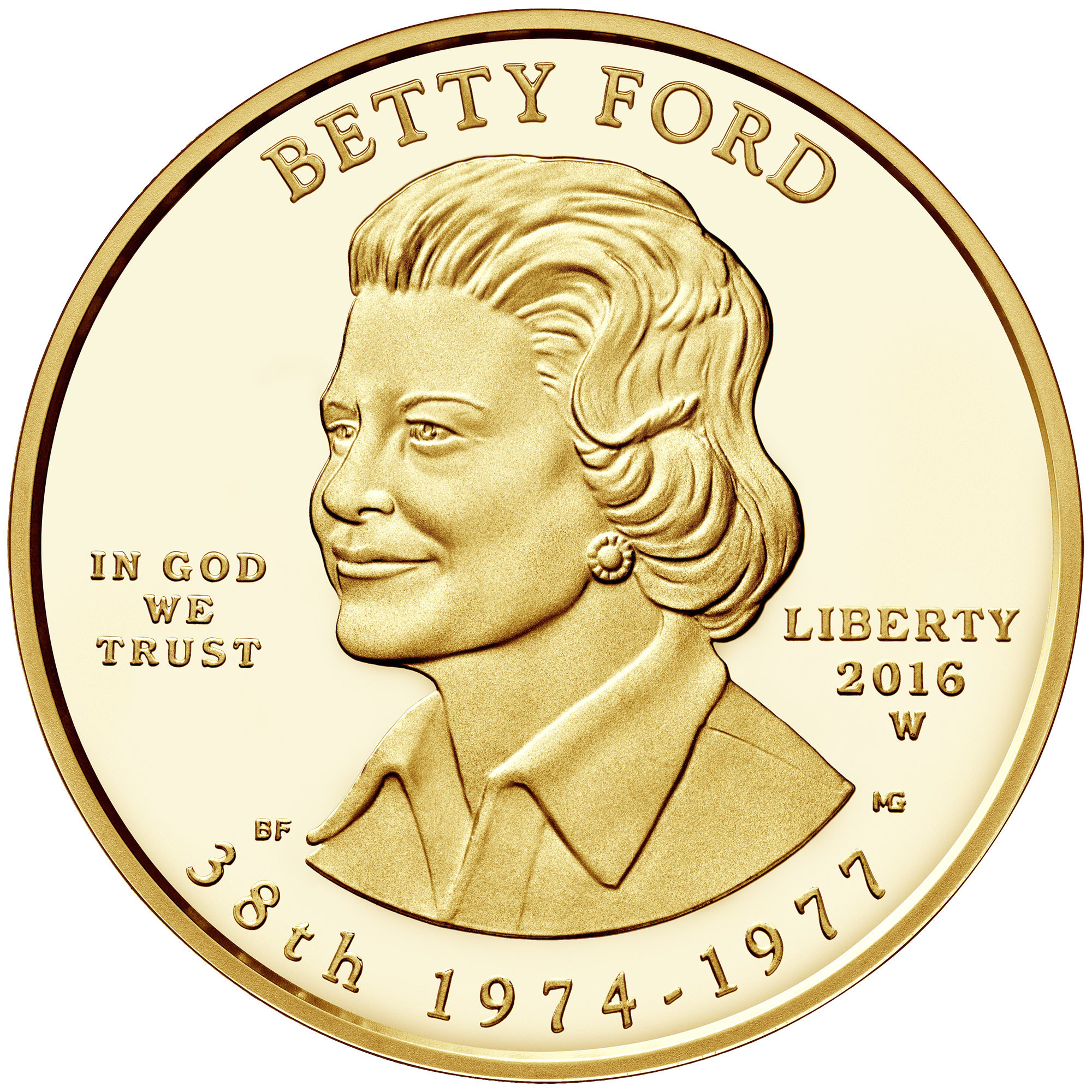 2016 First Spouse Gold Coin Betty Ford Proof Obverse